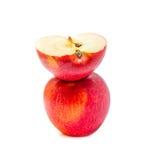 Перекрытие Яблока красное изолированное на белой предпосылке Стоковые Изображения