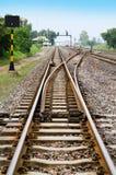 Переключатель железнодорожного пути с голубым небом Стоковое Фото