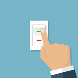 Переключатель кнопки руки человека иллюстрация штока
