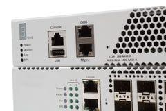 Переключатель локальных сетей гигабита с шлицем SFP Стоковая Фотография RF