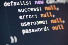 Переменные имени пользователя и пароля в JavaScript Стоковые Фотографии RF