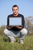 перемещать тетради человека Стоковое Фото
