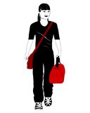 перемещая женщина иллюстрация штока