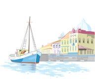 перемещая яхта иллюстрация вектора