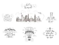 Перемещение, визирования и переход мира Комплект знамен туризма с цитатами рук-литерности бесплатная иллюстрация