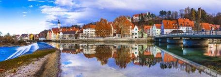 Перемещение в Германии, городке Landsberg до полудня Lech старом стоковое фото rf