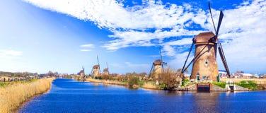 Перемещение в Нидерландах традиционная Голландия - ветрянки в Kinde Стоковое Фото