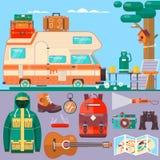 Перемещение, знамя туризма Летние отпуска, каникулы вокруг мира перемещения Путешествие, план отключения Плоская иллюстрация вект Стоковые Фото