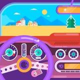 перемещение игрушки карты европы автомобиля Концепция автомобиля перемещения лета Плоская иллюстрация вектора Стоковое Изображение RF