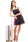Перемещение и каникула Женщина с сумкой багажа чемодана Стоковое фото RF