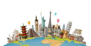 Перемещение, концепция путешествием Известные памятники стран мира также вектор иллюстрации притяжки corel
