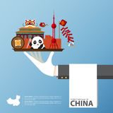 Перемещение к Китаю infographic Комплект плоских значков китайской архитектуры, еды, традиционных символов Стоковая Фотография RF