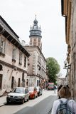Перемещение к Кракову Улицы города Историческая часть города Кракова Kazimierz Старый польский город стоковые фото