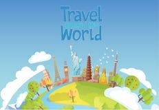 Перемещение к миру Голубое небо и автомобиль Туризм landmarks бесплатная иллюстрация