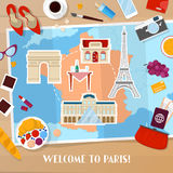 Перемещение к Парижу Франции Предпосылка с картой, архитектура и значки туризма и каникул путешествовать бесплатная иллюстрация