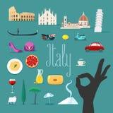 Перемещение к установленным значкам вектора Италии Итальянские ориентир ориентиры, собор, гондола бесплатная иллюстрация