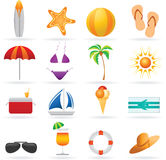 перемещение лета иконы установленное Стоковые Фотографии RF