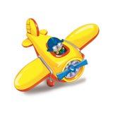 Перемещение мальчика самолетом Стоковые Фото
