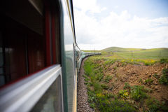 Перемещение монгольского поезда Trans экзотическое, Монголия Стоковое Изображение