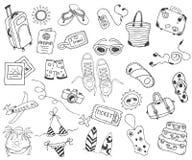 Перемещение нарисованное рукой, каникулы, перемещение, собрание значков doodle пляжа на белизне назад Стоковая Фотография