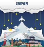 Перемещение ориентир ориентира предпосылки перемещения Японии глобальное и путешествие Infog иллюстрация штока