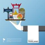Перемещение ориентир ориентира Таиланда глобальное infographic в плоском дизайне Стоковые Фото
