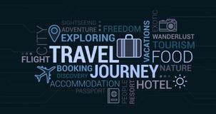 Перемещение, приключение и облако бирки туризма Стоковая Фотография