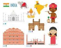 Перемещение плоского значка Индии установленные и концепция туризма Стоковые Изображения