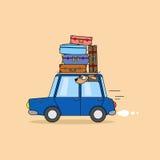 Перемещение семьи автомобилем Стоковое Фото
