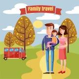 Перемещение семьи, мама папы характеров и дочь, шина страны для перемещения, стиля шаржа, осени, вектора, иллюстрации Стоковые Фотографии RF