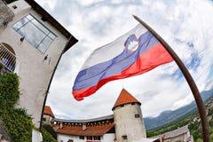 Перемещение Словения, Европа Кровоточенное озеро с островом, замком и горой Альпов на предпосылке Кровоточенное озеро одно самого Стоковые Фото