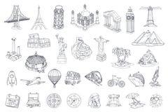 Перемещение, туристическая достопримечательность иконы иконы цвета картона установили вектор бирок 3 Стоковое фото RF