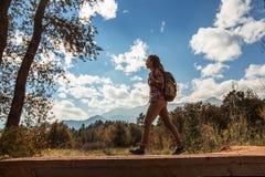 Перемещения Hiker к Америке в осени стоковая фотография rf