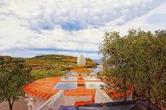 Перенесите музей и гавань Lligat торжественный Dali на штормовую погоду Стоковые Фотографии RF