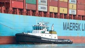 ПЕРЕПАД CATHRYN буксира помогая грузовому кораблю GERD MAERSK проводит маневр Стоковое Изображение