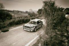 ПЕРЕПАД INT LANCIA старое ралли гоночного автомобиля 16V 1991 Стоковая Фотография RF