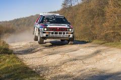 Перепад Integrale Lancia (нет 14) состязает на ежегодном ралли Стоковое Фото