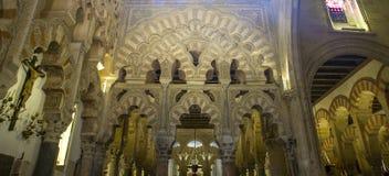 Переплетаннсяые, мульти-lobed своды в часовне Villaviciosa, смотря Стоковые Изображения RF
