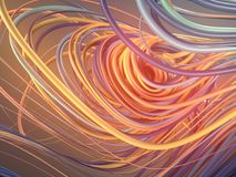Переплетая абстрактные красные и оранжевые кривые перевод 3d Стоковые Изображения RF