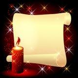 Переплетенный пергамент и горящая свечка иллюстрация вектора