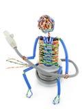 переплетенный человек компьютера кабеля Стоковые Фото