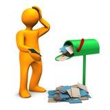 Переполненный почтовый ящик иллюстрация штока