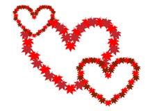 3 переплетаннсяых сердца Символ влюбленности иллюстрация вектора