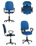 Переплетая стул офиса на колесах, с голубыми местом и backrest драпирования Стоковые Фотографии RF