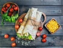 Переплетенный сандвичами Tortilla крена Стоковые Изображения