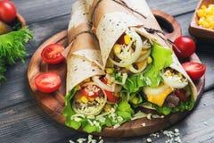 Переплетенный сандвичами Tortilla крена Стоковое Фото