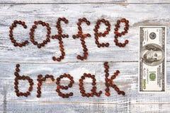 Перерыв на чашку кофе и банкнота Стоковое Изображение RF