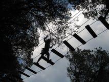 Пересекать мостк между деревьями в парке приключения когда it& x27; темнота s стоковое изображение