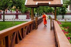 Пересекая деревянный мост Стоковая Фотография