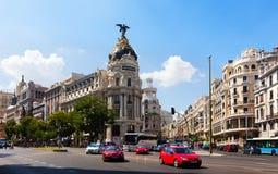 Пересекая Calle de Alcala и Gran через. Мадрид Стоковое Изображение RF